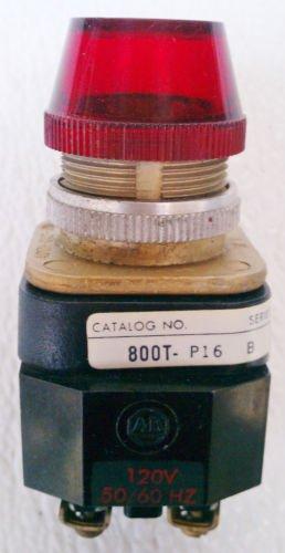 Allen Bradley 800T-PT16 Series B Pilot Light Red 120 Volt Coil Nema 4,13