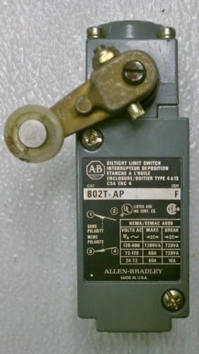 Allen Bradley 802T-AP Ser F Oil Tight Limit Switch Cam Roller Turret Head 600 V