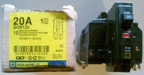 Square D QOB120 Circuit Breaker 20 Amp 120/240 V Box of 10 QOB Bolt-On 1 Pole