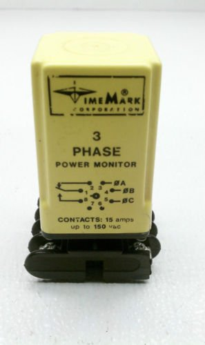 Time Mark A258B Power Monitor 3 Phase Adjustable 8 Pin 15 Amp 380-480 VAC 60 Hz