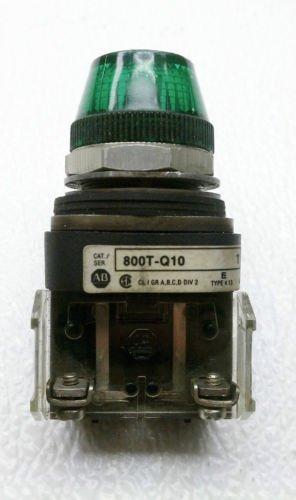 Allen Bradley 800T-Q10 Series T Green Pilot Light 120 Volt AC/DC NEMA 4, 13