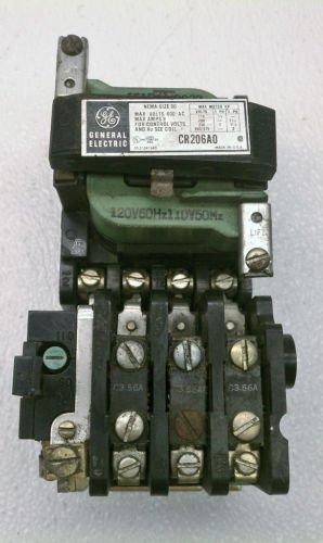 GE/ General Electric CR206A0 Motor Starter NEMA Size 00 600 Volt 120 VAC Coil