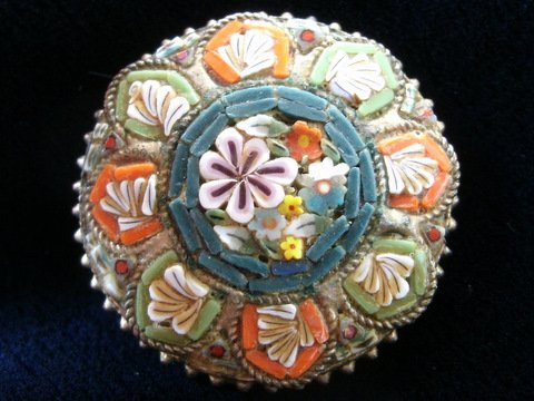 Micro Mosaic Brooch Pin Made in Italy