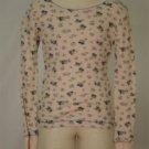Eyeshadow Floral Thermal Shirt w/ Thumb Holes Sz S 7/8