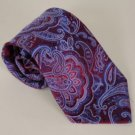 NWOT W. H. BELK Red Purple Blue 100% Silk Paisleys Tie