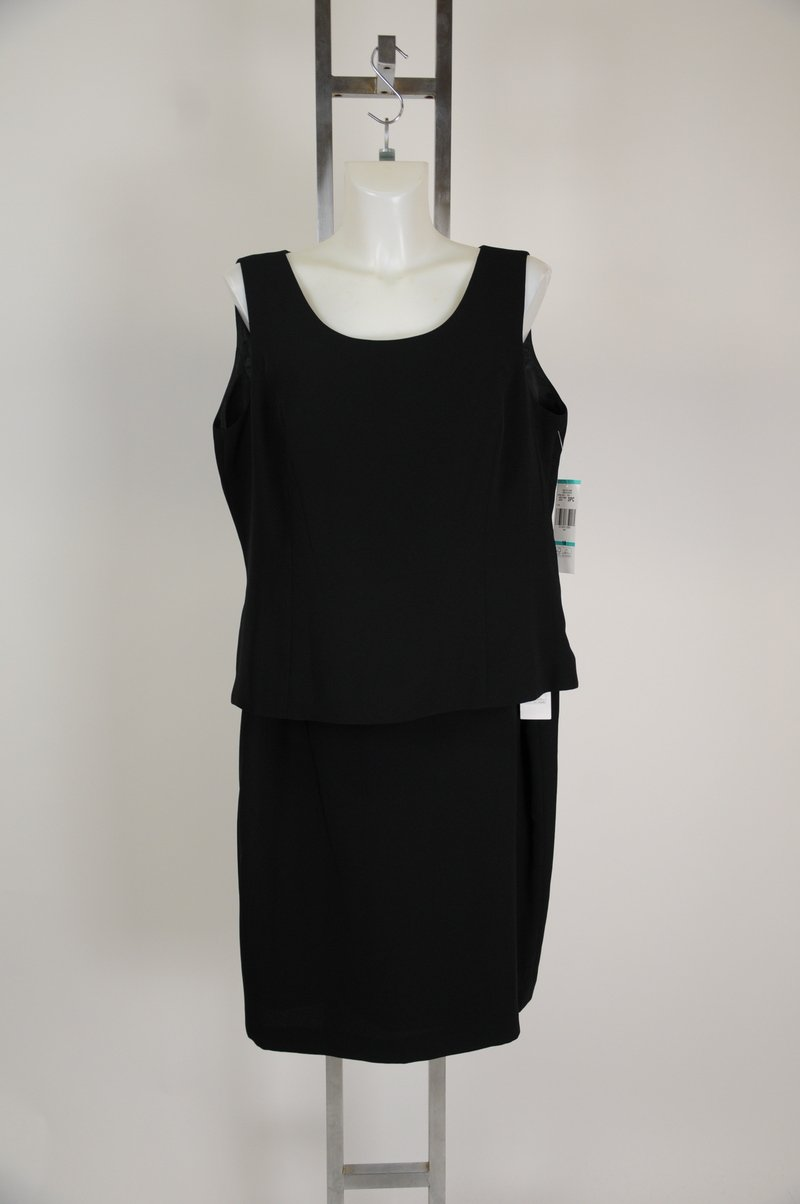 New Jones New York Tank Top Skirt Black Polyester Womens Suit Size 16