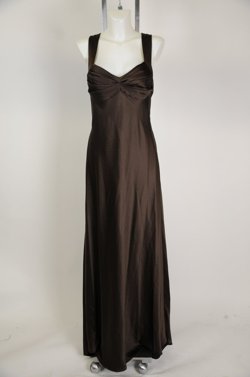 New Cute Calvin Klein Brown Polyester Evening Gown Maxi Dress Size 14