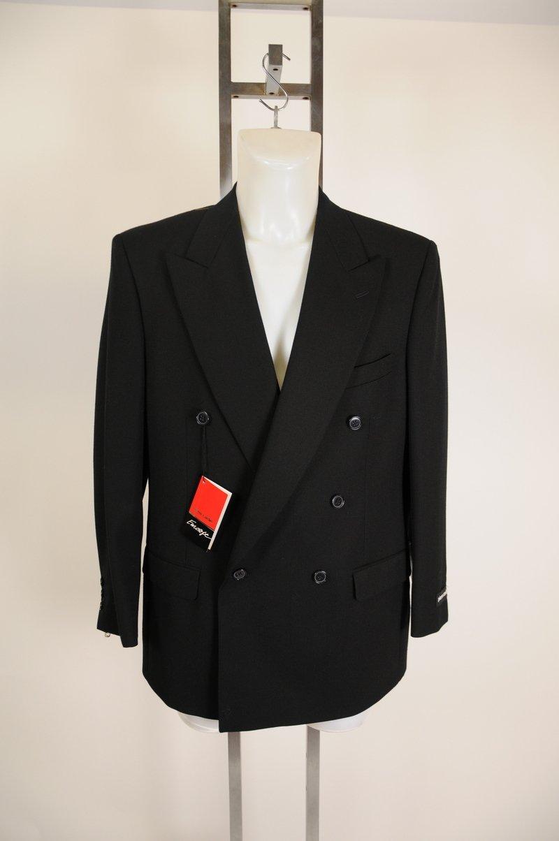 New Pierre Cardin 100% Wool Black Double Breasted Blazer Size 41R