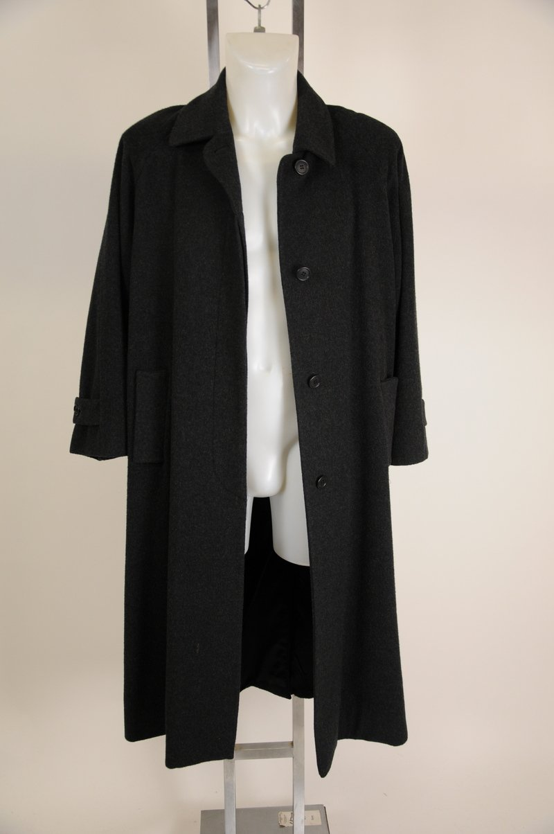 "NWOT Scaasi Dark Heather Gray Black 100% Wool Long Coat Chest 48"""