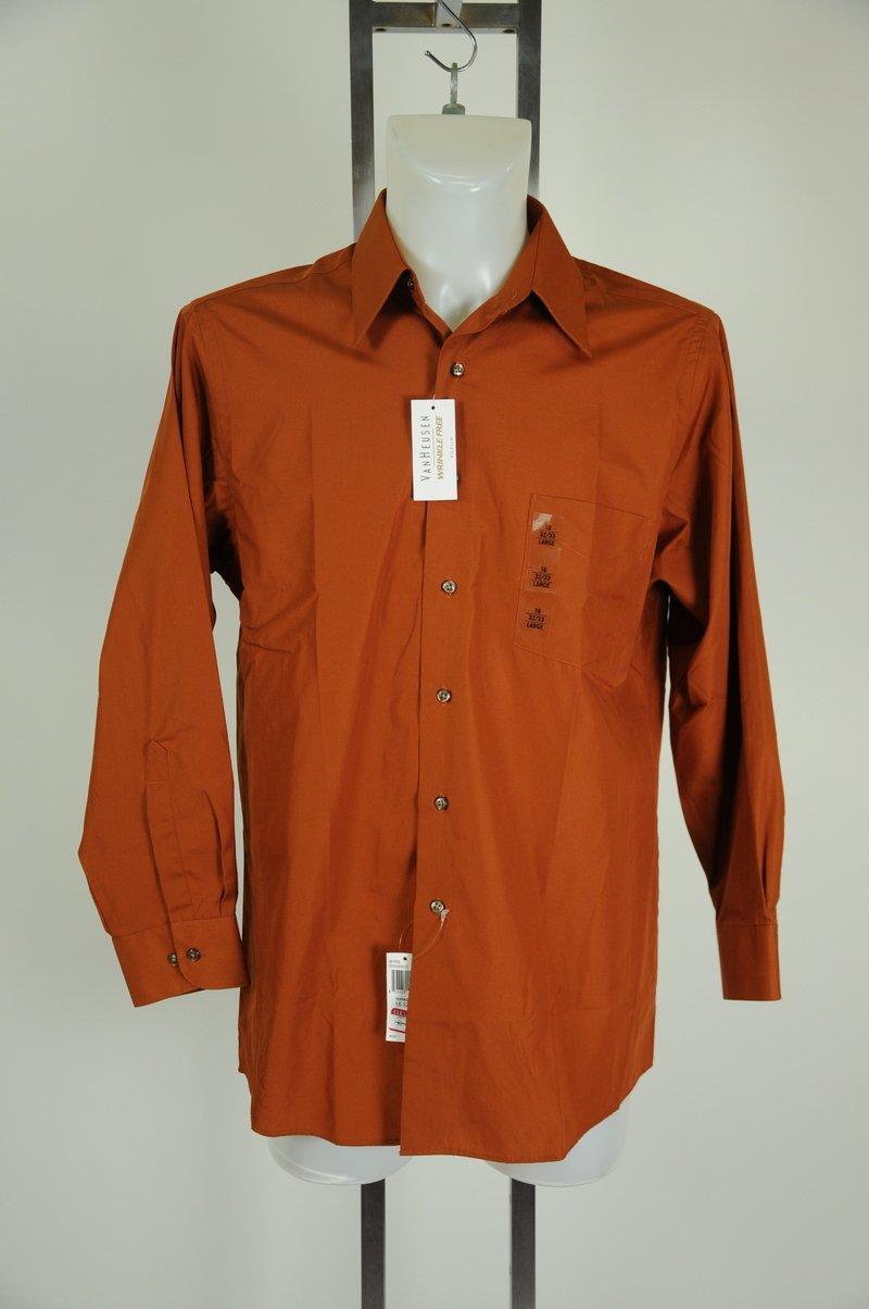 New Van Huesen Poplin Orange Terracotta Dress Shirt Size 16 34-35 Large
