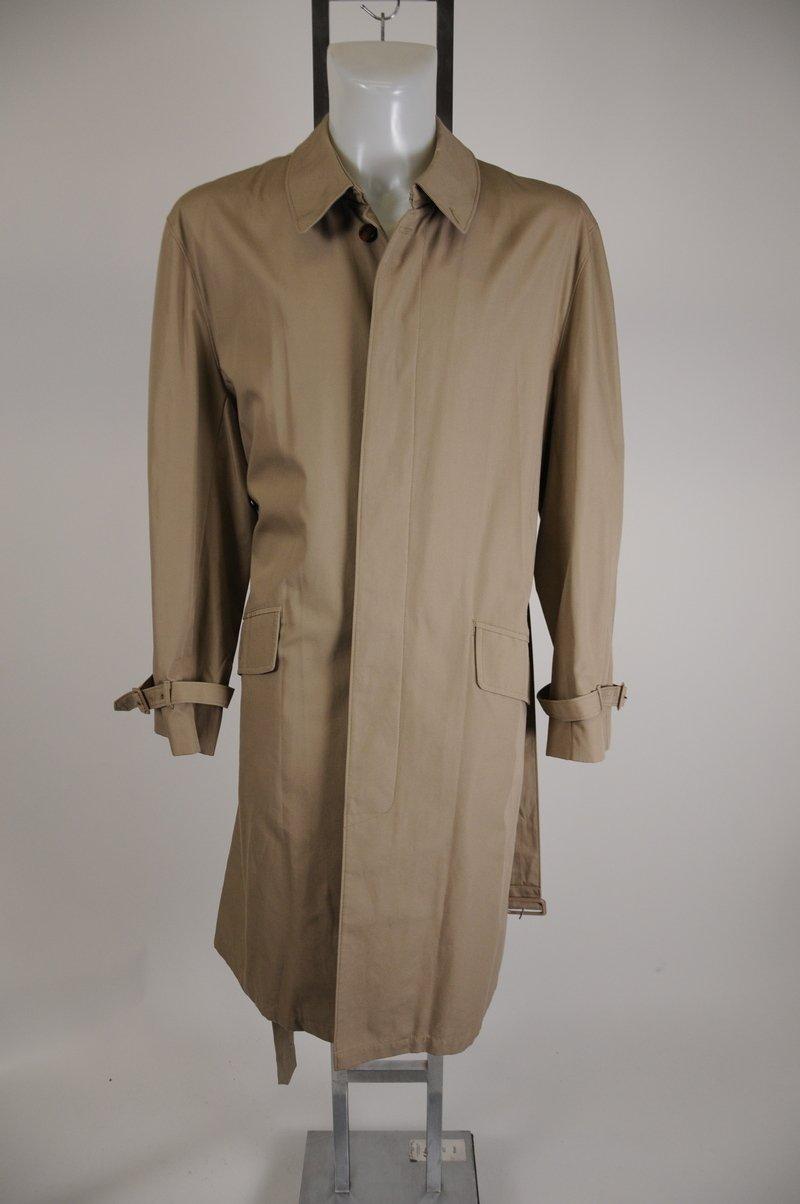 NWOT Mens London Fog Trench Rain Coat Khaki Long Front Button Size 44 reg