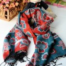 100% wool cashmere twin flower Chinese cymbidium scarf