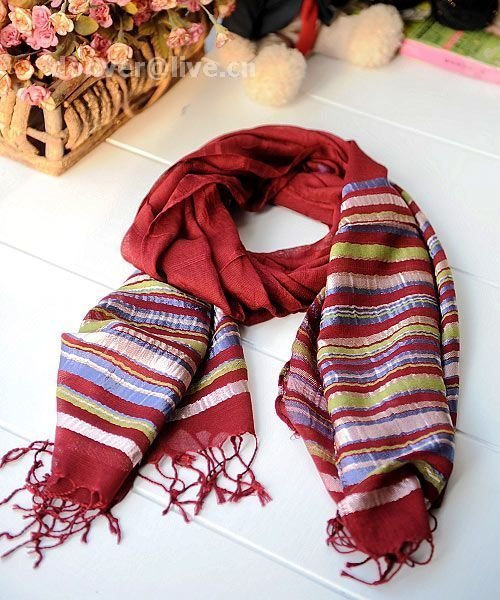 Contracted horizontal stripe red cotton scarf