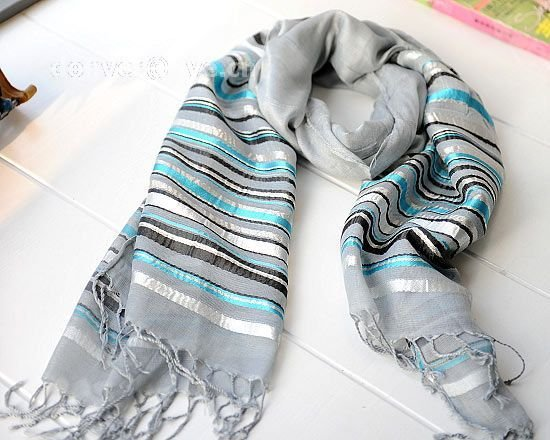 Contracted horizontal stripe grey cotton scarf
