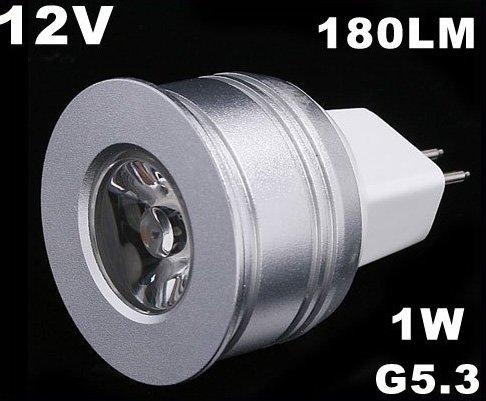 Energy G5.3 1W 12V Warm White LED Light Lamp Bulb  5pcs/lot  Free Shipping