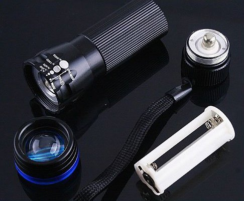 CREE LED Zoomable 3 Mode  200 Lumen Flashlight Torch  30pcs/lot  Free shipping