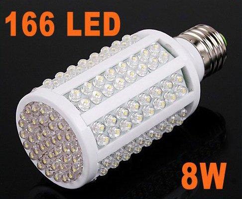 220V 8W E27 166 LED Light Energy Saving Bulb Corn Light  Free Shipping