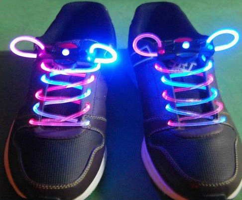 Pink + Blue LED Light Up Shoes shoelaces Luminous shoestring Flash Glow Stick  5sets/lot
