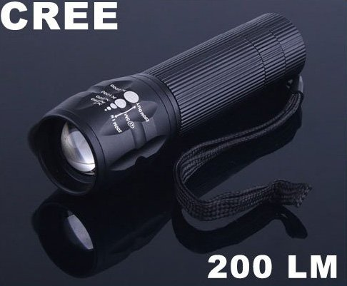 3 Modes Zoomable CREE 200 Lumen LED Flashlight Torch Free Shipping