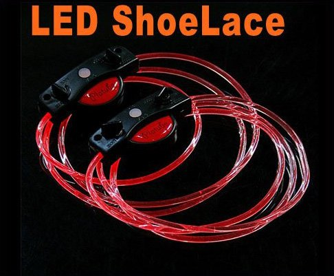 LED Light Up Shoelaces Flash Shoestrings Red  10sets/lot  Free Shipping