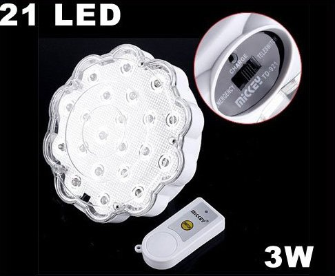 21 LED Rechargeable Emergency 3W LED Light Lamp with Remote Control  15pcs/lot  Free Shipping