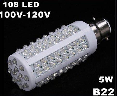 B22 5W 110V 108 Cold White LED Corn Light  10pcs/lot  Free Shipping