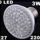 Ultra Bright 212LM 220V 3W E27 60 LED White Light Bulb Lamp  20pcs/lot  Free Shipping
