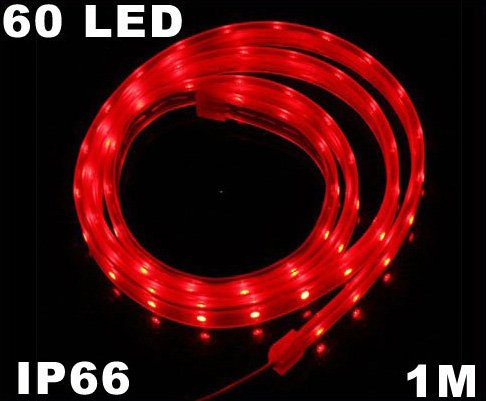 Red IP66 Waterproof  60 LED Red 4.8W LED Strip Light  Free Shipping  Retail