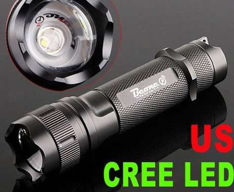 135LM Focusable Waterproof CREE LED Flashlight  LED Torch Flashlight  Free Shipping