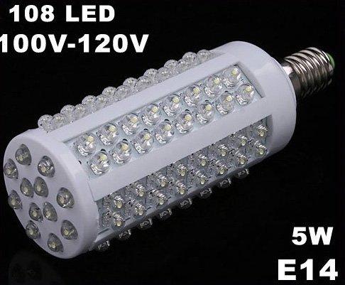 E14 Screw 5W 110V 108 Cold White LED Corn Light  5pcs/lot  Free Shipping