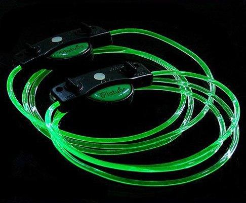 LED Light Up Shoelaces Flash Shoestrings Green  5sets/lot  Free Shipping