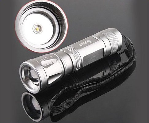 CREE LED 3-Modes 300LM Focusable Waterproof LED Flashlight/LED Torch  5pcs/lot  Free shipping