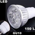 Energy-saving 150LM GU10 4 LED Light Bulb 4W Cold White 85-265V LED Light  20pcs/lot  Free Shipping