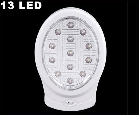 Ultra Bright White Rechargeable 13 LED Light  10pcs/lot  Free Shipping