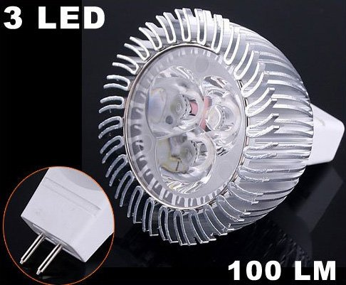 Energy Saving 100LM 3W Cold White 3 LED  MR16 Light Bulb  Free Shipping  Retail