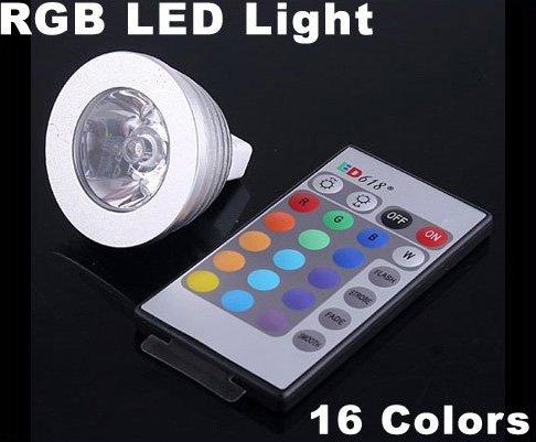 3W Energy-saving Remote Control 16 Colors MR16 RGB LED Light Bulb  Free Shipping