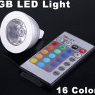 3W Energy-saving Remote Control 16 Colors MR16 RGB LED Light Bulb  Free Shipping