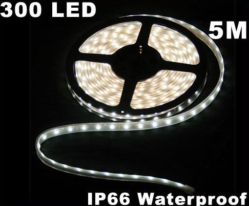 Cold White IP66 Waterproof 5M SMD 3528 300 LED Strip Light  Free Shipping