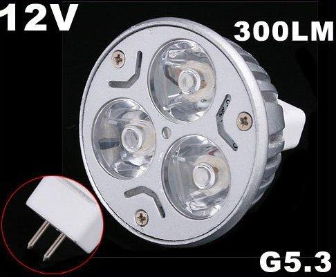 Energy G5.3 3*1W 12V Warm White LED Light Lamp Bulb  Free Shipping