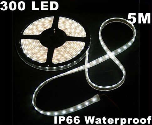 White IP66 Waterproof 5M SMD 3528 300 LED Strip Light  Free Shipping