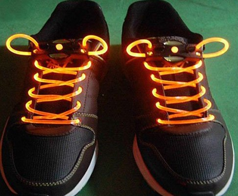 Yellow LED Light Up Shoes shoelaces Luminous shoestring Flash Glow Stick  5sets/lot  Free Shipping