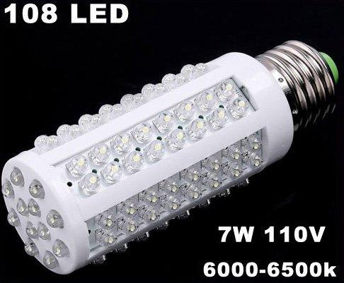 E27 Screw 7W 110V 108 LED Corn White Light Bulb  10pcs/lot  Free Shipping