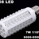 E27 Screw 7W 110V 108 LED Corn White Light Bulb  10pcs/lot  Free Shipping