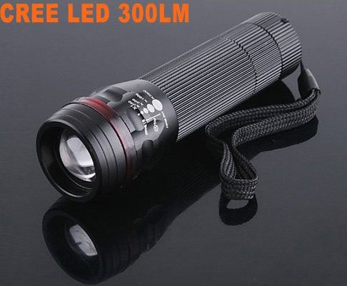 200LM Zoomable 3-Mode Waterproof CREE LED Flashlight Torch  5pcs/lot  Free Shipping