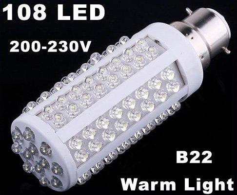 220V Bulb B22 5W 450LM Warm Light 108 LED Corn Light  10pcs/lot  Free Shipping