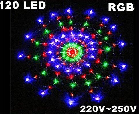 5pcs/lot Colorful RGB Net 120 LED Christmas Lights  Party Wedding LED Lights  Free Shipping