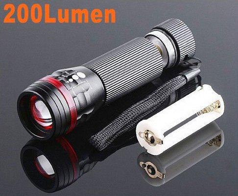 Zoomable 3 Mode CREE 200 Lumen LED Flashlight Torch  12pcs/lot  Free shipping