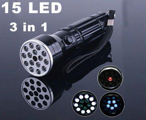 15 LED UV LASER light Lamp Torch Flashlight  10pcs/lot Free Shipping