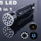 15 LED UV LASER light Lamp Torch Flashlight  10pcs/lot Free Shipping