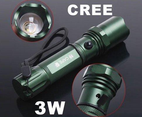 3W Adjustable Focus Beam CREE Q5 Chargeable LED Flashlight  LED Torch  CREE LED Flashlight